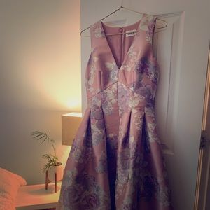 Floral print evening gown